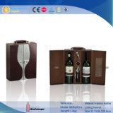 2 bouteilles de vin en bois boîte Boîte des emballages de vin en cuir (5592R11)