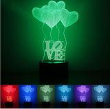Indicatore luminoso romantico di notte di stampa LED del regalo 3D del biglietto di S. Valentino con l'altoparlante blu