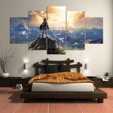 La pared de la pintura de la lona representa la leyenda del arte de la pared del juego del panel 5 del cartel de Zelda para los marcos modulares de la decoración del hogar de la sala de estar