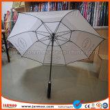白い二重層の耐久のゴルフ傘