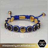 Kundenspezifisches umsponnenes ledernes Raupe-Armband, wulstige Armbänder für Männer Mjb034