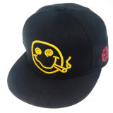 Kundenspezifische schwarze Baumwollhut-Form-Hysteresen-Schutzkappe mit Lächeln stickte
