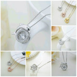 925 Plata Esterlina joyas de moda el baile de boda joyas colgante, collar de diamantes