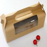 Коробка Kraft бумажная с коробкой булочки коробки торта печенья Macaron окна упаковывая бумажной