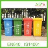Eco-Friendly 120L / 240L lixeira de plástico com duas rodas