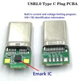 Connecteur mâle de type C USB2.0, USB plug PCBA, Intensité nominale : 5.0A Max. Tension nominale : 20 V C.A. RMS Max. Emark IC, USB-Si TID N0.: 5200000284