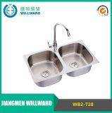 Wb2-728 o aço inoxidável 304 personalizou o dissipador de cozinha moldando da bacia dobro