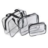 3PCSは透過PVC構成の一定袋、明確なPVC旅行化粧品袋をセットした