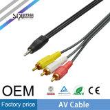 Мужчина кабеля Sipu 3.5mm 2RCA AV к мыжскому тональнозвуковому кабелю