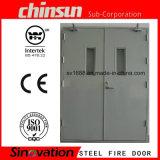 Aço dupla porta corta-fogo com vidro de Incêndio