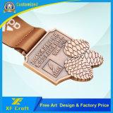 専門家は亜鉛合金2D/3Dの接続したリボンが付いている銅のめっきされた金属メダルをカスタマイズした