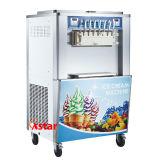 機械に柔らかいサーブをする商業アイスクリームメーカーのアイスクリーム