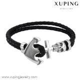 Armband-31 Armband van het Leer van de Juwelen van het Roestvrij staal van de manier de Koele Zwarte
