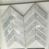 Azulejo de mosaico de piedra de mármol Shaped de la espina de pez blanca de Carrara de la alta calidad