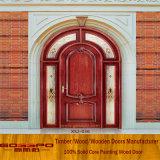 Portas de entrada francesas em madeira de madeira residencial (GSP2-036)