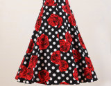 Commerce de gros Polka Dot Fleur rouge Rocknroll Full Circle Dancing jupes