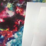 Кожа PU яркия блеска печатание ярлыка ткани с горячей синью Melt
