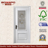 Porte en bois de salle de bains de peinture blanche classique de modèle (GSP3-052)