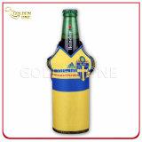 De superieure Neopreen Afgedrukte Gedrongen Houder van de Fles van het Bier met Ritssluiting