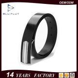 Form-hochwertige Stahlfaltenbildung-echte schwarze lederne Mann-Taillen-Riemen