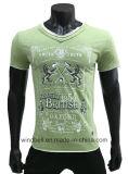 T-shirt novo do projeto para homens com borda crua