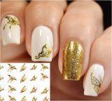стикер ногтя стикеров искусствоа ногтя переноса воды конструкции бабочки золота 3D