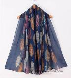 Madame estampée par polyester Scarf de ramassage de l'hiver d'OEM avec le modèle de clavette (HWBPS023)