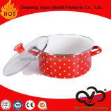 カバーが付いているステッカーのエナメルの小型鍋の焦げ付き防止の標準的な鍋