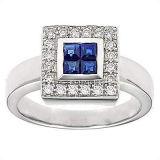 Anillo Oro Blanco 18K con piedras preciosas y diamantes (LRG1266)