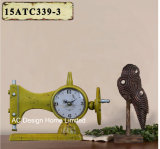 Orologio di cucito nero del piano d'appoggio del metallo di figura dell'oggetto d'antiquariato della decorazione dell'annata