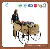 Деревянное Flower Display Cart с Steel Wheels