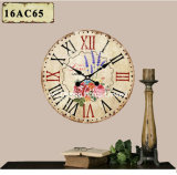 型の装飾の骨董品の新しい庭の整理デザインMDF木プリントペーパーステッカーの柱時計
