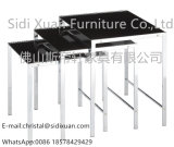 Moderne Art-weißer GlasspitzenEdelstahl-Spant 3 Stück-Verschachtelungs-Tisch durch Home Furniture