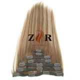 Grampo de cabelo desenhado natural do russo da cor do piano na extensão do cabelo humano