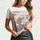 둥근 목 로즈 도표 인쇄 t-셔츠