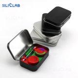 4 en 1 de l'huile de caoutchouc de silicone Dabber jar Tool Kit de stockage contenant du silicone de cire avec une housse de transport discret d'étain métallique