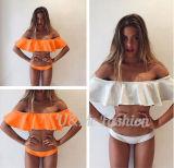 Frauen-Badeanzug-Dame Padded Boho Top Strapless Volantmaterial-Transportwagen-gesetzter Bikini