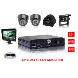 128g SD 이동할 수 있는 DVR 4 채널 통신로 차량 비디오 녹화기