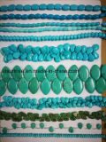 Strang de colar de pérolas de cristal de turquesa estampada de moda