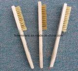 Escova de fio de aço de madeira do punho para a limpeza