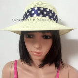 100% соломенной шляпе, Мода Козырек Стиль шифоном ленты украшения