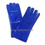 青い牛そぎ皮の溶接手袋の安全作業手袋
