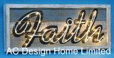 Vintage antique décor mural de conception de maison rectangulaire en bois ZONE OMBRE W/VOYANT LED