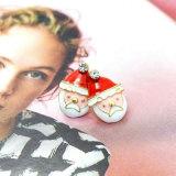 Oorringen van de Nagel van de Kerstman van Kerstmis van het Kristal van het email de Transparante voor Vrouwen