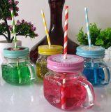 손잡이, 석수 저장 유리 단지를 가진 소형 유리제 찻잔 또는 컵