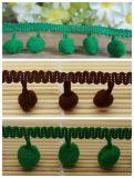 Frange environnementale en gros de pompon pour la décoration de ménage