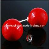 La primavera de la moda de joyería de perlas de resina roja /Bola Cordón clásico aretes joyas de moda de primavera de 2013 elementos de aleación de moda de Joyería de pendientes de PE-013