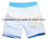 Tecido de 4 vias, Blue Color Printed Design Beach Shorts for Man