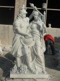 Witte Marmeren Steen Gesneden Muziek Dame Statues Figure