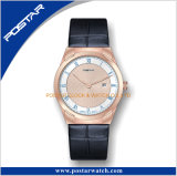 Dos manos con el reloj de lujo de la correa de cuero del cuarzo de Ginebra del reloj de la fecha